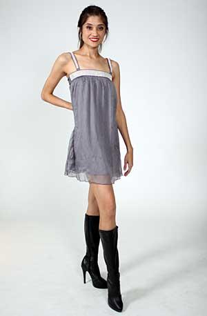 GRAY RHINESTONE BABY DOLL DRESS