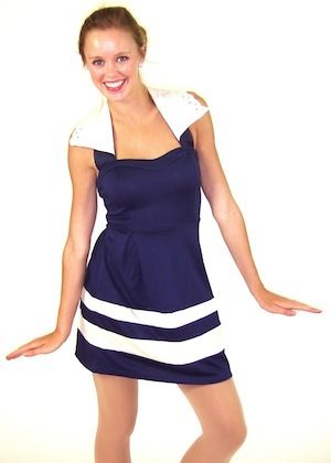 NAVY/ WHITE STRIPED HALTER DRESS