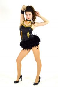 BLACK AND GOLD FEATHERED DRESS