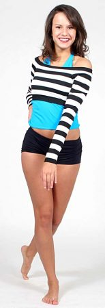 BLACK AND WHITE STRIPE TOP WITH BLUE HALTER