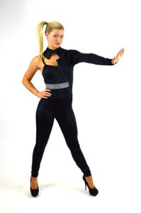 ONE SHOULDER BLACK UNITARD