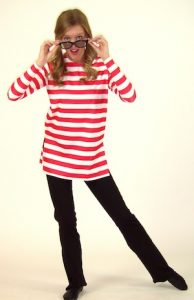 LONG-SLEEVE RED AND WHITE STRIPED TOP