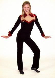 BLACK AND RED VELVET UNITARD.