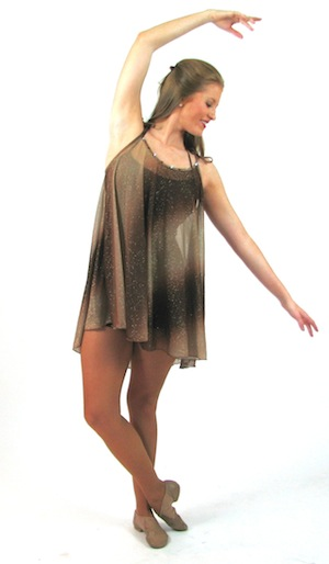 BROWN BIKETARD WITH BROWN WATERCOLOR DRESS