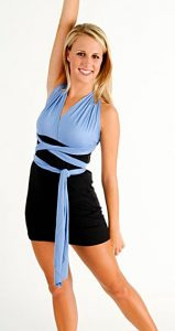 SHORT BLACK DRESS WITH BLUE HALTER STRAPS