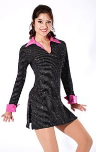 METALLIC PINSTRIPE TUNIC WITH HOT PINK BOOTIE SHORTS