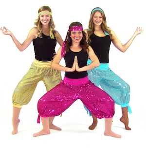 SEQUINED PANT AND HEADBAND WITH BLACK TANK