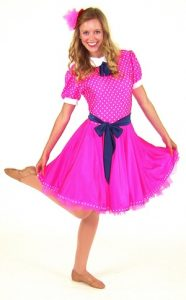 PINK POLKA DOT DRESS WITH BLUE BELT