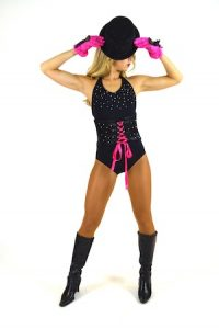 BLACK AND PINK CORSET LEOTARD WITH GLOVES