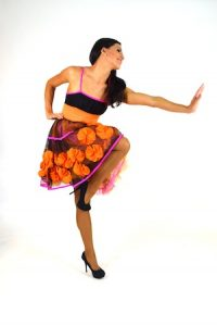 BLACK, PINK, AND ORANGE TULLE DRESS
