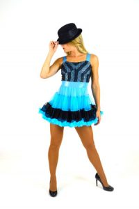 BLUE AND BLACK TULLE DRESS