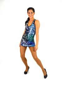 BLUE AND TURQUOISE SEQUIN DRESS