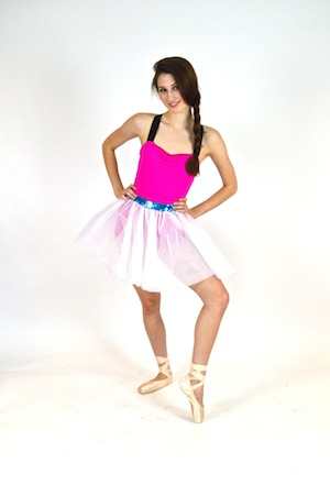 HOT PINK BIKETARD WITH TULLE TUTU