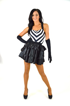 BLACK AND WHITE CHEVRON BIKETARD WITH BLACK SKIRT