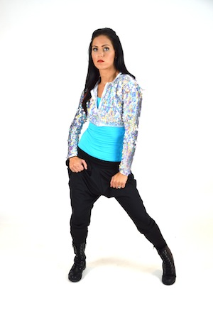 SEQUIN JACKET WITH TURQUOISE TOP AND HAREM PANTS