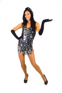 BLACK HALTER SEQUINED DRESS WITH BERET