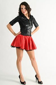 LEATHER JACKET WITH RED SKIRT