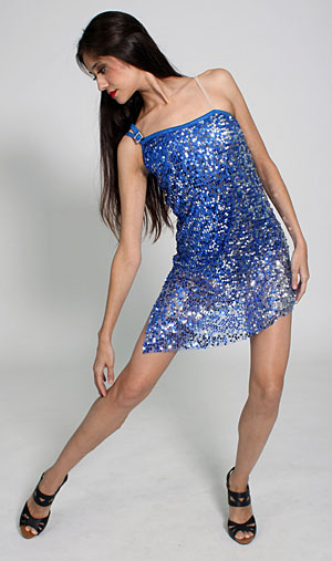 BLUE AND SILVER SEQUIN DRESS