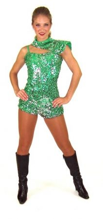GREEN AND SILVER SEQUIN BIKETARD