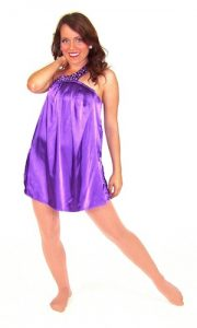 PURPLE DRESS WITH RHINESTONES AND BLOOMER