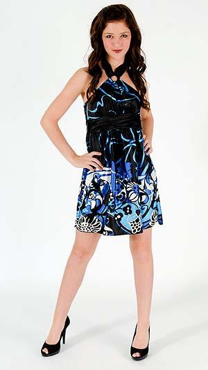 BLACK AND BLUE HALTER DRESS