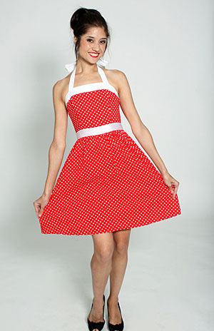 RED AND WHITE POLKA DOT DRESS