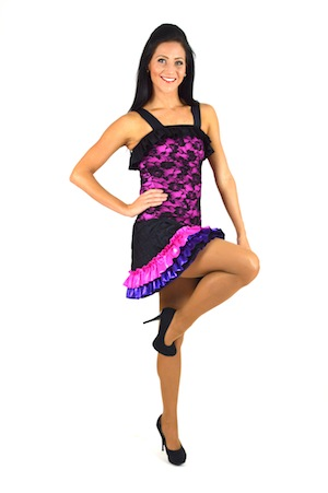 BLACK, PINK, AND PURPLE, RUFFLED SKIRT SET