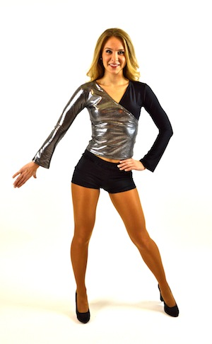 BLACK AND SILVER LONGSLEEVE TOP....