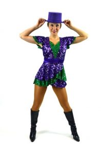 PURPLE AND GREEN SEQUIN DRESS