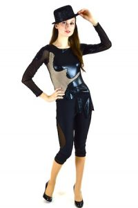 BLACK PLEATHER CUT-OUT BODYSUIT