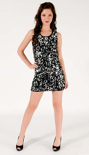BLACK & SILVER SEQUIN DRESS