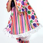 RAINBOW CLOWN COSTUME INCLUDES RUFFLE, UNDERPANTS, HAT