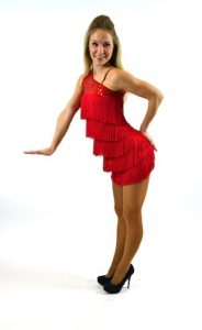 RED FRINGE AND SEQUIN DRESS....