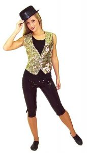 GOLD VEST WITH BLACK SEQUIN CAPRI PANTS