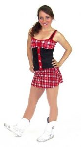 BLACK AND RED PLAID TOP AND SKIRT