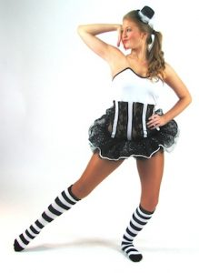 WHITE/ BLACK LACE STRIPED TOP AND BLACK TUTU