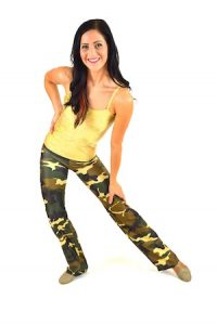 GOLD CAMI AND CAMO JAZZ PANT SET