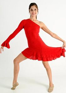 RED SALSA DRESS WITH TRUNKS