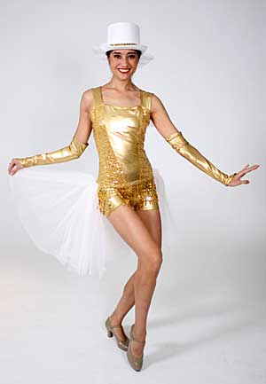 WHITE/GOLD CHORUS LINE BIKETARD WITH GLOVES AND HAT