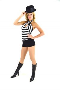 WHITE AND BLACK PRISONER LEOTARD