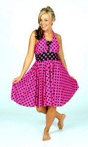 PINK AND BLACK POLKA DOT DRESS