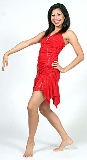 RED SEQUIN HALTER DRESS