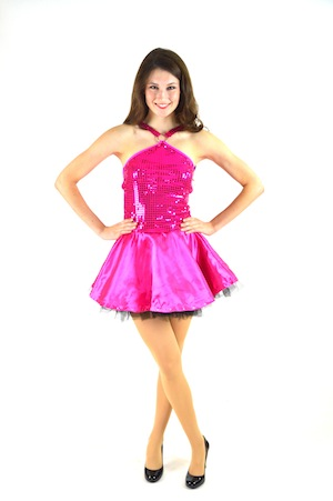 PINK SATIN SKIRT AND SEQUIN HALTER