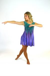 PURPLE AND GREEN WATERCOLOR DRESS