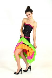 CAN CAN CORSET AND SKIRT WITH RUFFLED BLOOMERS