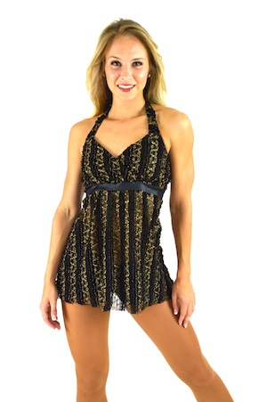BLACK AND GOLD HALTER
