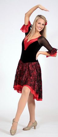 BLACK AND RED LACE DRESS
