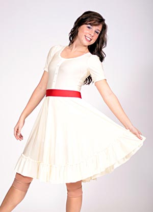 CREAM RUFFLED DRESS WITH RED BELT