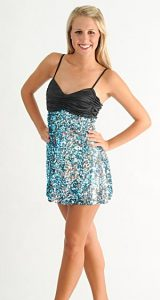 BLUE SILVER AND BLACK SEQUIN DRESS