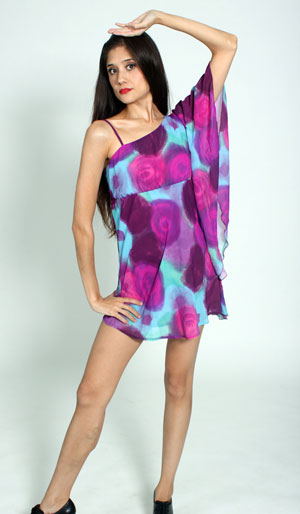 PURPLE PSYCHEDELIC FLORAL PRINT DRESS....HOT SHORTS NOT INCLUDED.